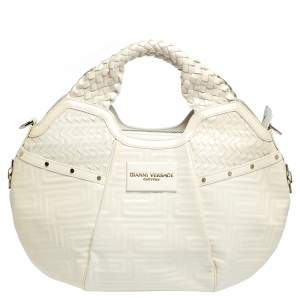 Versace Ivory Quilted and Woven Patent Leather Hobo