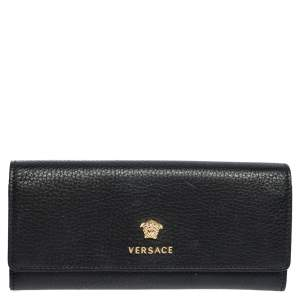 Versace Black Leather Medusa Continental Wallet