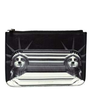حقيبة يد صغيرة فيرساتشي نيل برات جلد بيضاء/ سوداء جلد