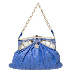 Versace Blue Leather Mirror Frame Chain Shoulder Bag