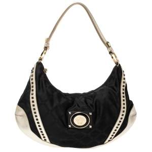 Versace Black/Gold Nylon and Leather Studded Hobo
