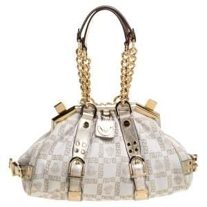 Versace Beige/Metallic Canvas and Leather Madonna Boston Bag