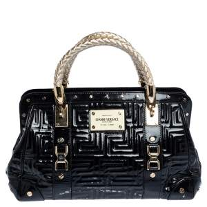 Versace Black Patent Leather Snap Out Of It Satchel