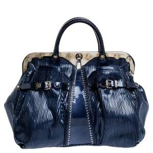 Versace Blue Striped Patent Leather Studded Frame Satchel