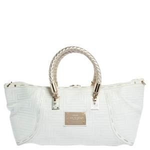 Versace White/Gold Leather Satchel