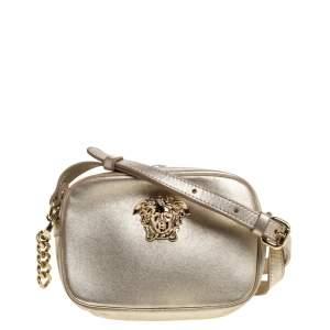 حقيبة كاميرا كروس فيرساتشي بالازو ميدوسا جلد ذهبية معدنية