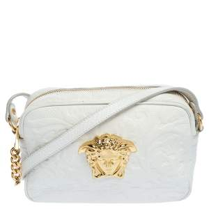 Versace White Leather Palazzo Medusa Camera Crossbody Bag