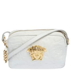 حقيبة كروس كاميرا فيرساتشي بالازو جلد أبيض