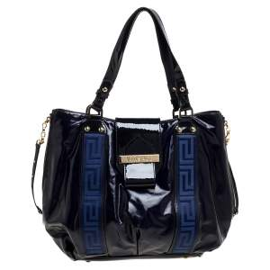 Versace Two Tone Blue Patent Vinyl and Leather Side Zip Tote