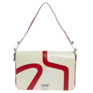 Versace Cream/Red Patent Leather and Leather Shoulder Bag