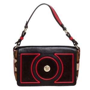 Versace Brown/Red Leopard Print Calfhair, Leather and Suede Palazzo Flap Shoulder Bag