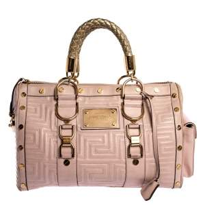 Versace Pink Quilted Leather Snap Out Of It Satchel