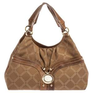 Versace Brown Signature Canvas and Leather Palazzo Plaque Shoulder Bag