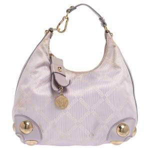 Versace Lilac Signature Canvas and Leather Small Studded Hobo