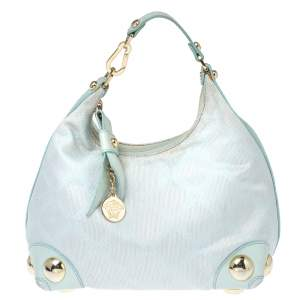 Versace Light Turquoise Signature Canvas and Leather Small Studded Hobo