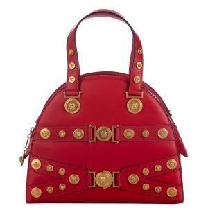 Versace Red Leather Tribute Medallion Shoulder Bag