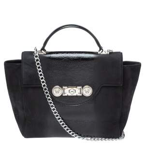 Versace Black Nubuck and Patent Leather Medusa Turnlock Tote