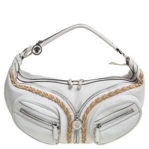 Versace White Leather Medusa Shoulder Bag