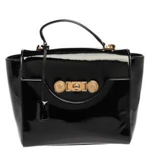 Versace Black Patent Leather Borsa Top Handle Bag