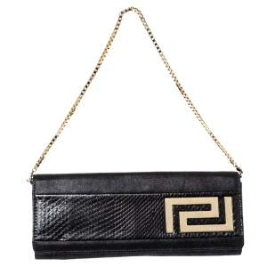 Versace Black Nubuck And Snakeskin Logo Flap Chain Clutch