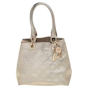 Versace Metallic Gold Leather Tote