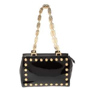 Versace Black Patent Leather Medusa Studded Chain Shoulder Bag