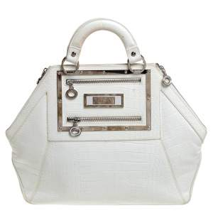 Versace White Croc Embossed Leather Hit Satchel