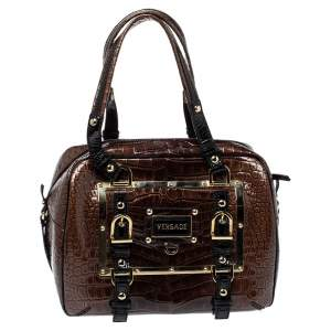Versace Brown/Black Croc Embossed Patent Leather Satchel