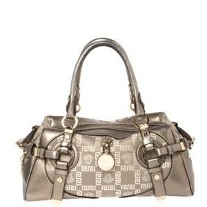 Versace Metallic Grey Jacquard Fabric and Leather Medusa Bag