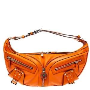 Versace Orange Leather Double Pocket Zip Hobo