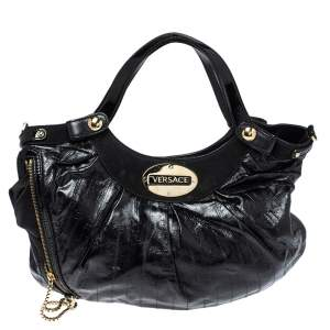 Versace Black Eel Skin, Suede and Patent Leather Satchel