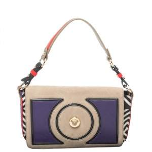 Versace Multicolor Printed Leather, Velvet and Suede Palazzo Flap Shoulder Bag
