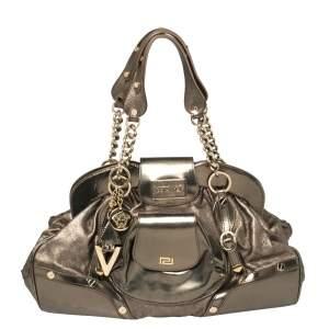 Versace Metallic Leather Pocket Front Frame Satchel