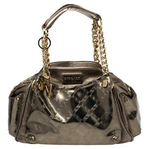 Versace Metallic Olive Green Signature Patent and Leather Chain Detail Satchel