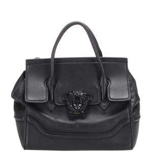 Versace Black Leather Palazzo Empire Satchel Bag