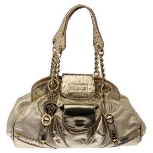 Versace Gold Patent and Ostrich Embossed Leather Chain Link Satchel