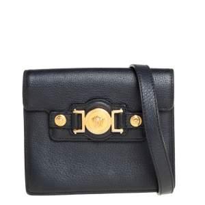 Versace Black Leather Medusa Buckle Flap Crossbody Bag