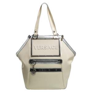 Versace Offf White/Silver Patent And Leather Hit Satchel
