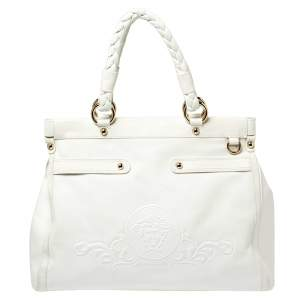 Versace White Leather Medusa Embossed Satchel