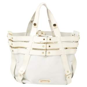 Versace White/Ivory Patent and Leather Cutout Tote