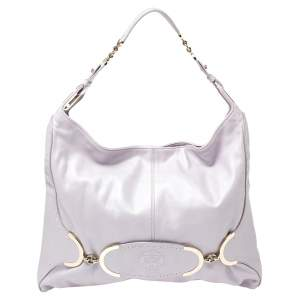 Versace Lilac Leather Medusa Embossed Hobo