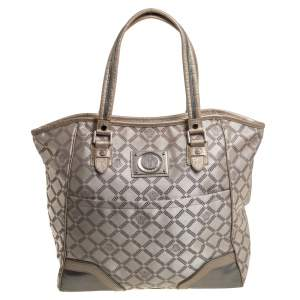 Versace Beige Monogram Fabric and Croc Embossed Leather Tote