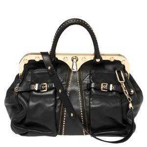 Versace Black Leather Studded Reve Frame Satchel