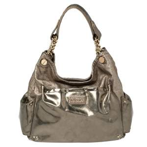 Versace Metallic Bronze Leather Pocket Shoulder Bag