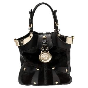 Versace Black Fur And Leather Studded Satchel
