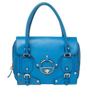 Versace Blue Leather Buckle Embellished Satchel
