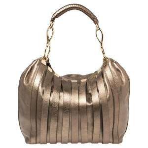 Versace Metallic Leather Stripped Hobo
