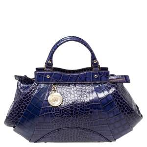Versace Indigo Blue Croc Embossed Leather Logo Charm Satchel