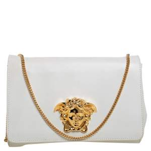 Versace White Leather Medusa Sultan Shoulder Bag