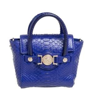 Versace Royal Blue Python Mini Medusa Tote